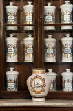 Porcelain bottles in Taquechel Pharmacy , Havana, Cuba Royalty Free Stock Photography