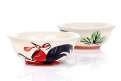 Porcelain bowls with painted chicken Royalty Free Stock Images