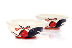 Porcelain bowls with painted chicken Royalty Free Stock Photography