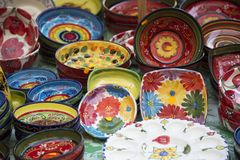 Porcelain bowls in Valencia, Spain. Display of painted porcelain pottery in Valencia, Spain Royalty Free Stock Image