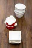 Porcelain bowls in vertical format Royalty Free Stock Photography