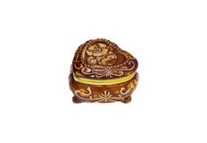 Porcelain box. Brown porcelain casket isolated on a white background Royalty Free Stock Photos