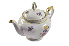 Porcelain brewing teapot isolated on the white. Background Stock Photos