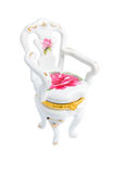 Porcelain chair casket isolated on a white backgro royalty free stock photos