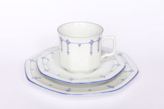 Porcelain coffee cup saucer plate Royalty Free Stock Photography