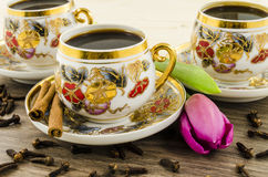 Porcelain coffee cups with pink flower Stock Images
