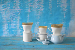 Porcelain coffee filters Stock Photos