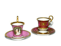 Porcelain cup. Two cups pf tea - antique Royalty Free Stock Image