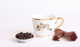 Porcelain cup with coffee Stock Images