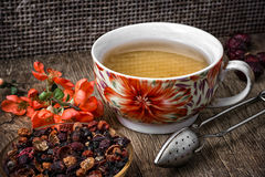 Porcelain cup of fragrant tea for medicinal herbs in retro style Stock Image