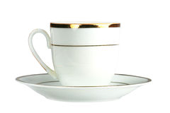 Porcelain cup and saucer. On white background is insulated Stock Images