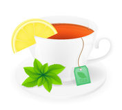 Porcelain cup of tea with lemon and mint vector illustration Royalty Free Stock Photography