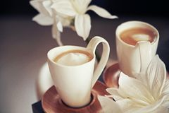 Porcelain cups with coffee Stock Photos