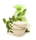 Porcelain cups, green leaves and a bag of tea Royalty Free Stock Images