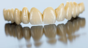 Porcelain dental bridge on mirror surface Royalty Free Stock Photo