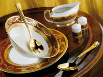 Porcelain dinner set Stock Photos