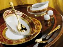 Porcelain dinner set. Royal Gold Bordeaux stock photos
