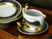 Porcelain dinner set. On the table Royalty Free Stock Photos