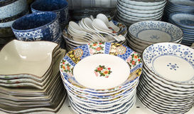 Porcelain dinner-ware. Blue and white Chinese porcelain were made for the Asian markets and in Chinese taste Royalty Free Stock Photos