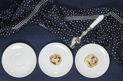 Porcelain dishes and cookies with cranberries Stock Images