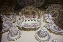 Porcelain dishes exhibited at the Hofburg Museum in the Imperial Silver Collection.  royalty free stock images