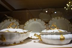 Porcelain dishes exhibited at the Hofburg Museum in the Imperial Silver Collection.  royalty free stock image