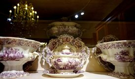 Porcelain dishes exhibited at the Hofburg Museum in the Imperial Silver Collection.  royalty free stock photography