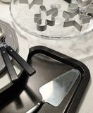 Porcelain Dishes, Plates, Cake Spatula and Silverware Stock Photos