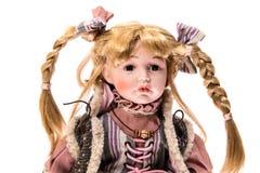 Porcelain Doll. Girl. Isolated Stock Photo