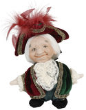Porcelain doll old gnome. Isolated on a white background Stock Photos