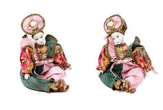 Porcelain dolls. Porcelain doll  in 2 different positions with soft shadow on white Stock Images