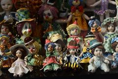 Porcelain dolls in a window at Karlovy Vary Royalty Free Stock Image