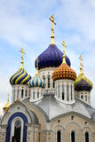 Porcelain Domes of Grand Prince Igor Cathedral in Peredelkino Royalty Free Stock Photo