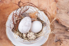 Porcelain easter decoration. Easter decoration idea with porcelain and wood stock images