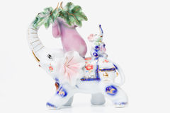 Porcelain elephant with baby elephant Stock Photography