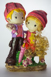 Porcelain figurine The boy with the girl. Appointment of lovers of the boy and girl Stock Image