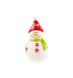 Porcelain figurine Snowman on white. Christmas and New Year theme. Stock Photos