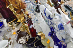 Porcelain figurines decorative objects flea market Royalty Free Stock Image