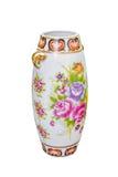 Porcelain floral vase isolated white background Stock Photography