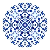Porcelain flower. Floral round pattern, Circular decorative ornament, blue and white Mandala, ceramic background design, porcelain pottery flower decor vector royalty free illustration