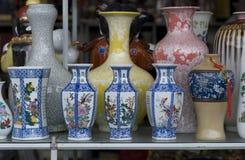 Porcelain flower vases Stock Photo