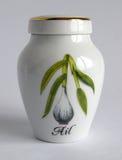 Porcelain garlic jar Stock Photos