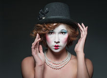 Porcelain girl. A girl dressed up as an old vintage porcelain doll Royalty Free Stock Photos