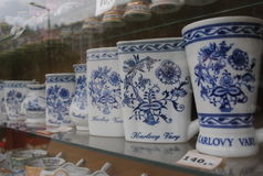 Porcelain and Glass. Karlovy vary mineral glass at Czech Republic Stock Images
