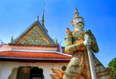 Porcelain guardian at a temple in Bangkok, Thailand Stock Image