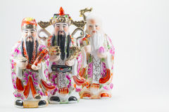 Porcelain of Hock Lok Siew or Fu Lu Shou, three gods of Chinese, Stock Images