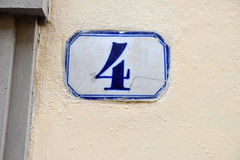 Porcelain house number four Royalty Free Stock Photography