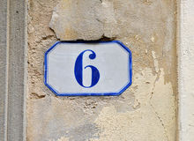 Porcelain house number six Royalty Free Stock Photography