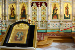 Porcelain iconostasis in the temple of the Resurrection monaster Royalty Free Stock Photo