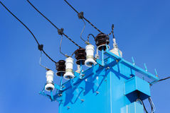 Porcelain insulators for electrical substation Stock Photos
